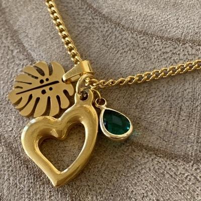 Fio dourado medalha folha, coração e pedra