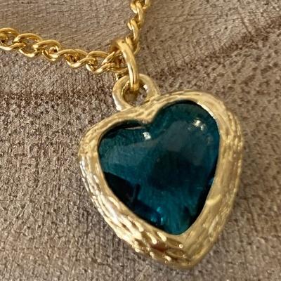 Fio dourado Coração azul Turquesa