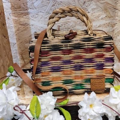 cesta junco 23cm c/ alça quadrados