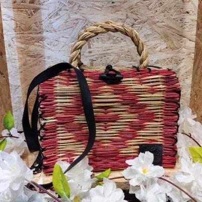 cesta junco 23cm c/ alça  vermelha