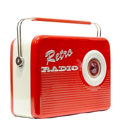 Caixa de metal  rádio vermelho