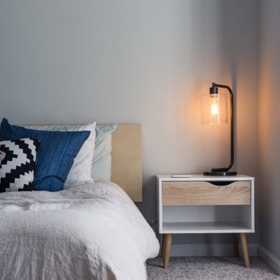 Nightstand Bedside Table And Modern Light