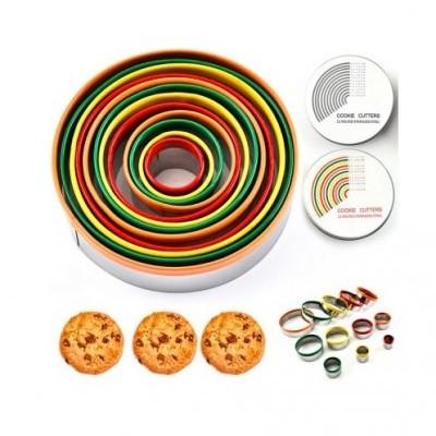 Caixa com 12 Cortantes Circulo, com proteção em silicone colorido