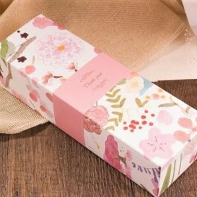 Caixa de Cartão Decorada - Thank Youl - Flores Cor-de- rosa