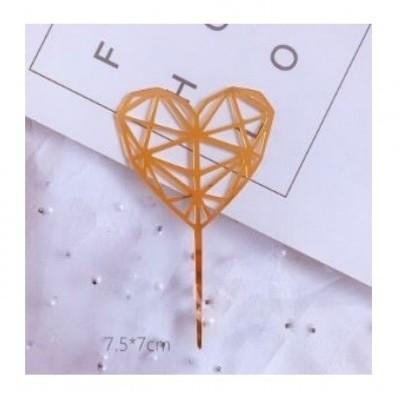 Topper de Bolo, Coração Geometric, Pequeno