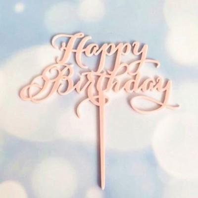 Topper Acrílico Rosa - Happy Birthday