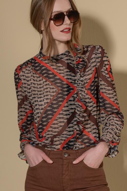 Blusa estampada com folho Ana Sousa