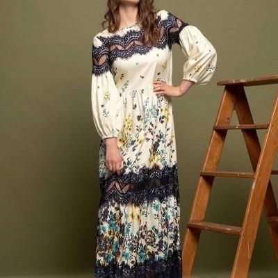 Vestido comprido estampado floral Sahoco