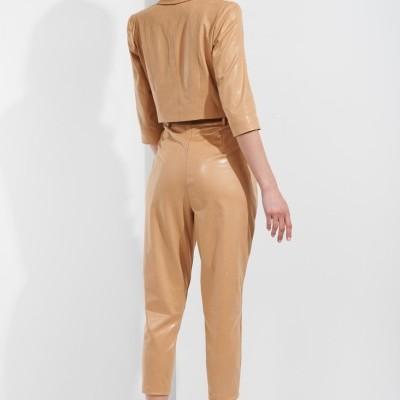 Calças cintura alta efeito pele Sahoco