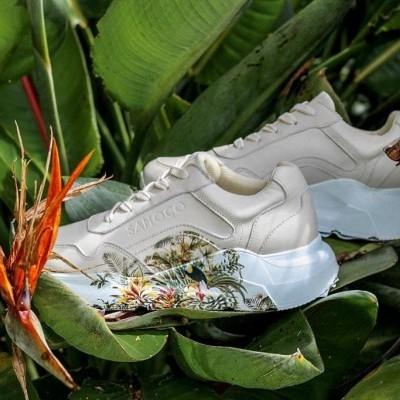 Sapatilhas detalhe flor em beige Sahoco