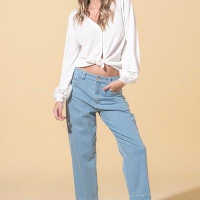Jeans com baínha desfiada Ana Sousa