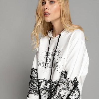 Sweatshirt de capuz e renda Sahoco