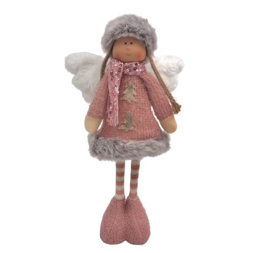 Anjo natal lantejoulas cor-de-rosa