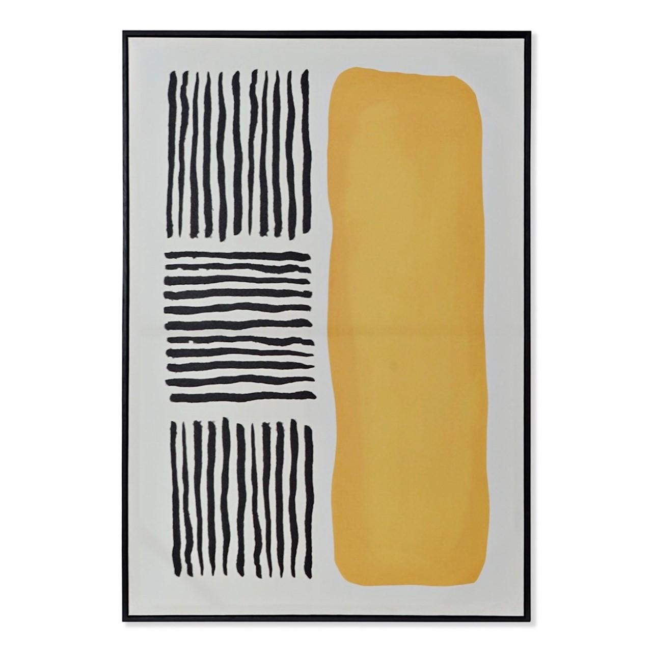 Quadro abstrato riscas/amarelo ocre