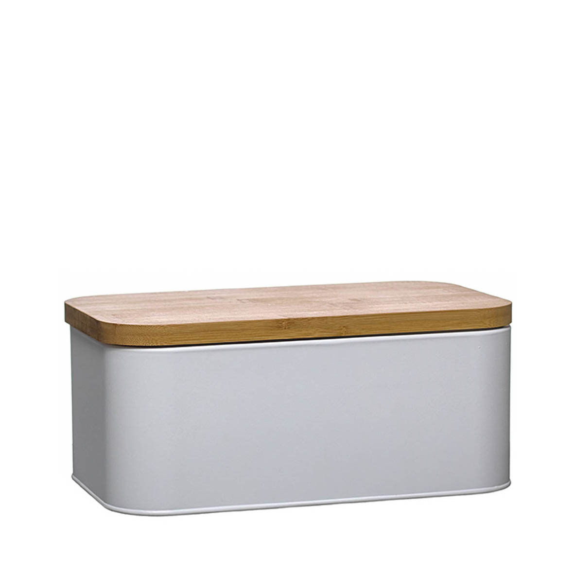 Caixa de pão metal e bambu