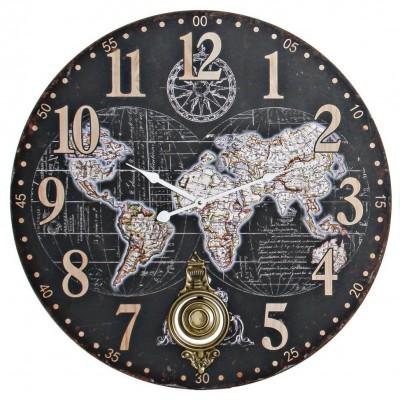 Relógio grande de parede mapa mundo (PRETO)
