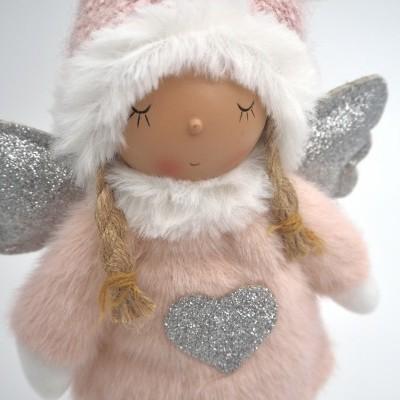 Anjo natal cor-de-rosa