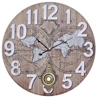 Relógio grande de parede mapa mundo (NATURAL)