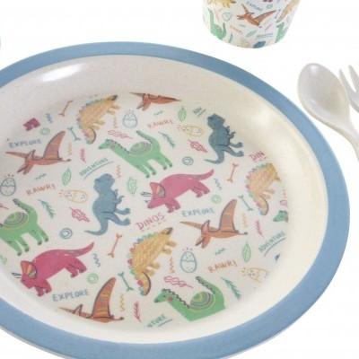 Conjunto de mesa 5 pcs (dinossauros, azul)