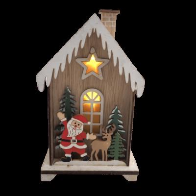 Decoração natal casa madeira c/LED (2 MODELOS DISPONÍVEIS)