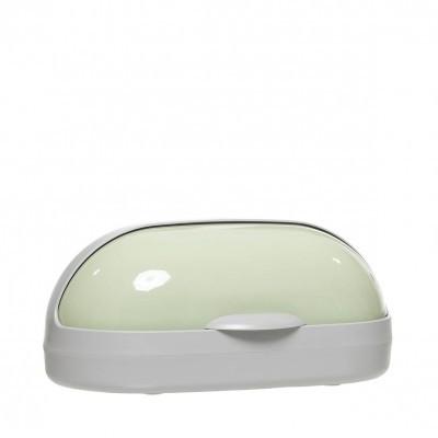 Caixa de pão em plástico cinza/verde