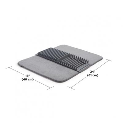 Escorredor com tapete em microfibra (CINZA)