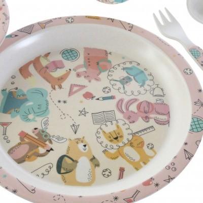 Conjunto de mesa 5 pcs (animais, rosa)