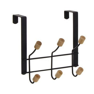 Cabide de porta 6 ganchos preto