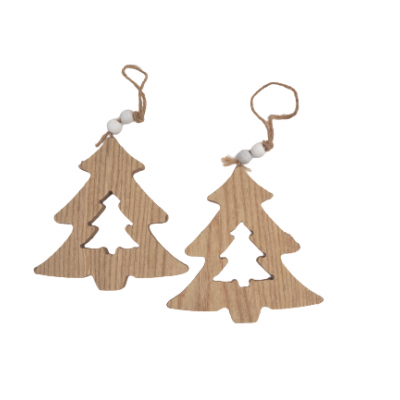 Conjunto 2 decorações de pendurar - árvore madeira (2 CORES DISPONÍVEIS)