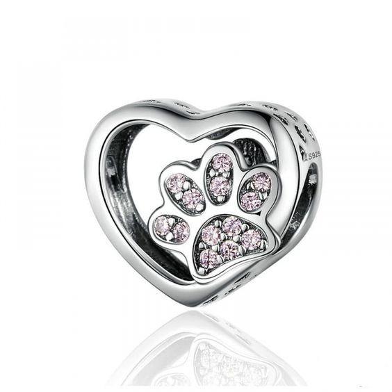 Conta de prata 925 compatível com pandora (pata - rosa)