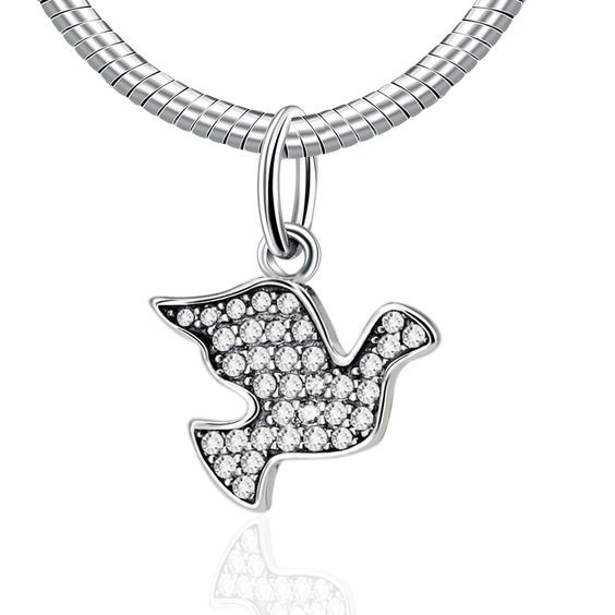 Conta pingente de prata 925 compatível com pandora (pomba da paz)