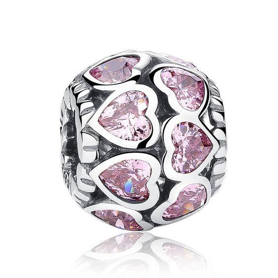 Conta de prata 925 compatível com pandora (Laços de amor eterno) - zircónia rosa