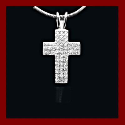 Pendente / Pingente de prata 925 com pedras zircão (cruz)