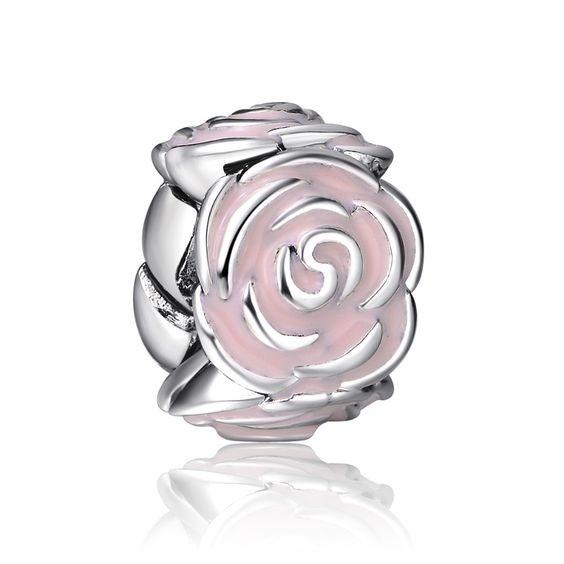 Conta banhada a prata compatível com pandora (jardim de rosas)