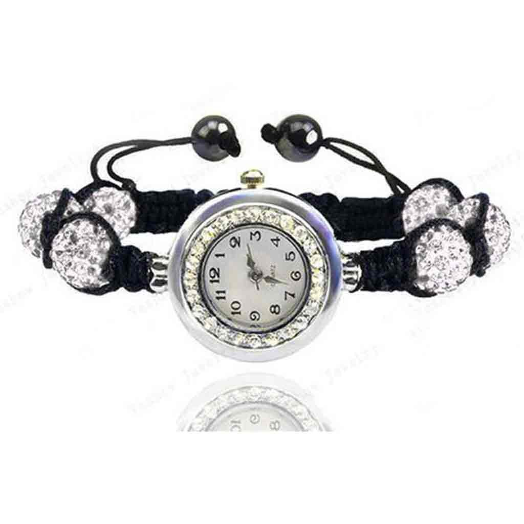 Relógio com bracelete de contas de cristal