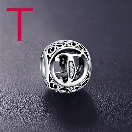 Conta de prata 925 compatível com pandora (letra T)