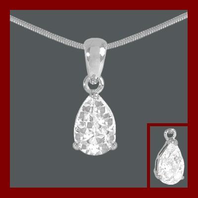 Pendente / Pingente de prata 925 com pedra Zircônia cúbica (gota)