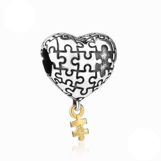 Conta de prata 925 compatível com pandora (puzzle)