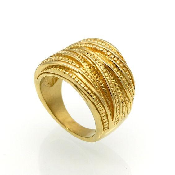 Anel de aço inoxidável banhado a ouro