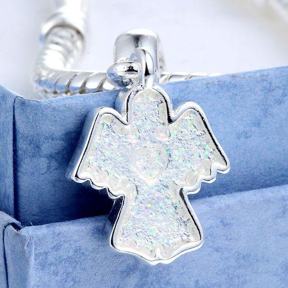 Conta banhada a prata 925 compatível com pandora (Anjo)