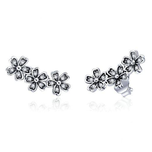 Brincos de prata 925 compatível com pandora (flores)
