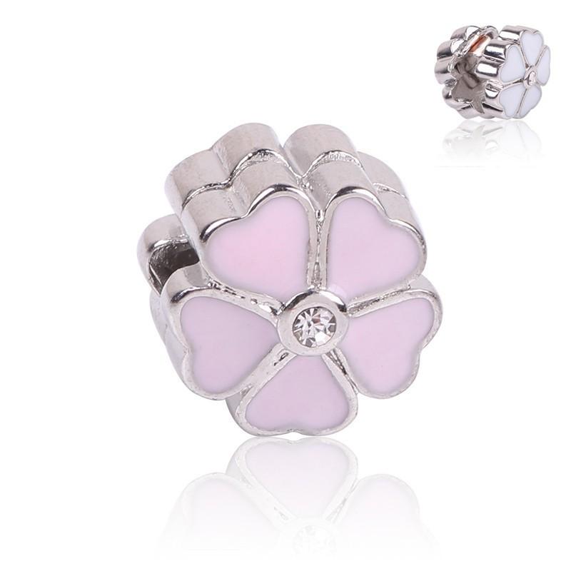 Conta compatível com pandora (flor corações rosa) - clip