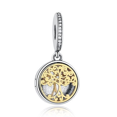 Conta pingente de prata 925 - bicolor - compatível com pandora (árvore família)