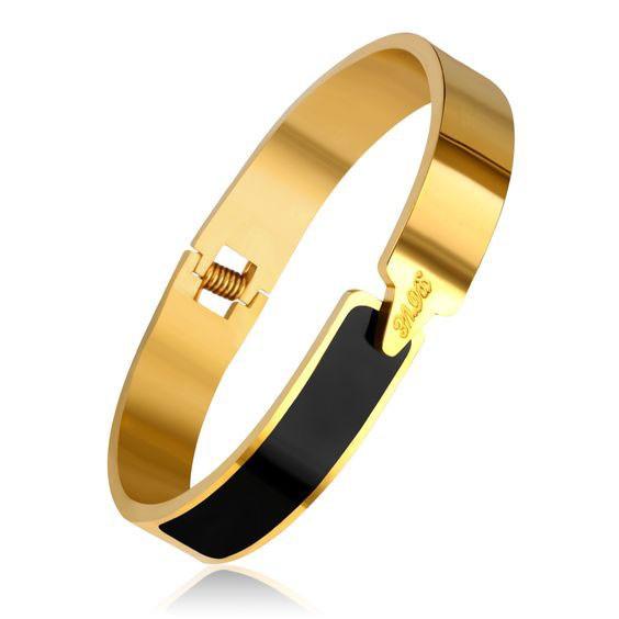 Pulseira de aço inoxidável cor ouro /preta