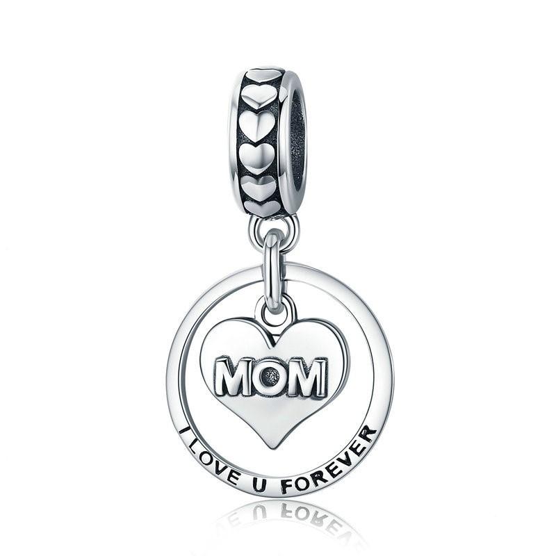 Conta pingente de prata 925 compatível com pandora (mom - I Love Forever)