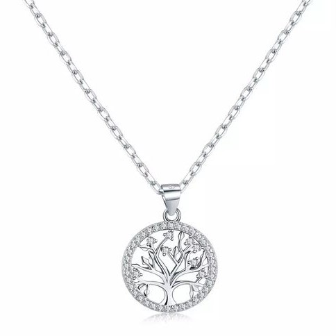 Pendente / Pingente de prata 925 com pedra Zircônia cúbica (Família - Ávore da vida)