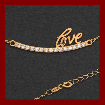 Fio de prata 925 com pendente - LOVE e pedras zircão banhado a ouro
