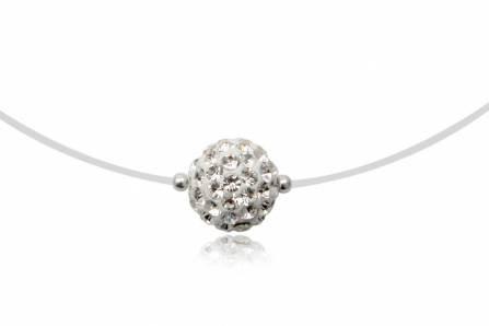 Fio c/ pendente de prata 925 e cristais preciosa brancos