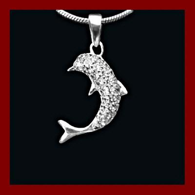 Pendente / Pingente de prata 925 com zircônias (golfinho)