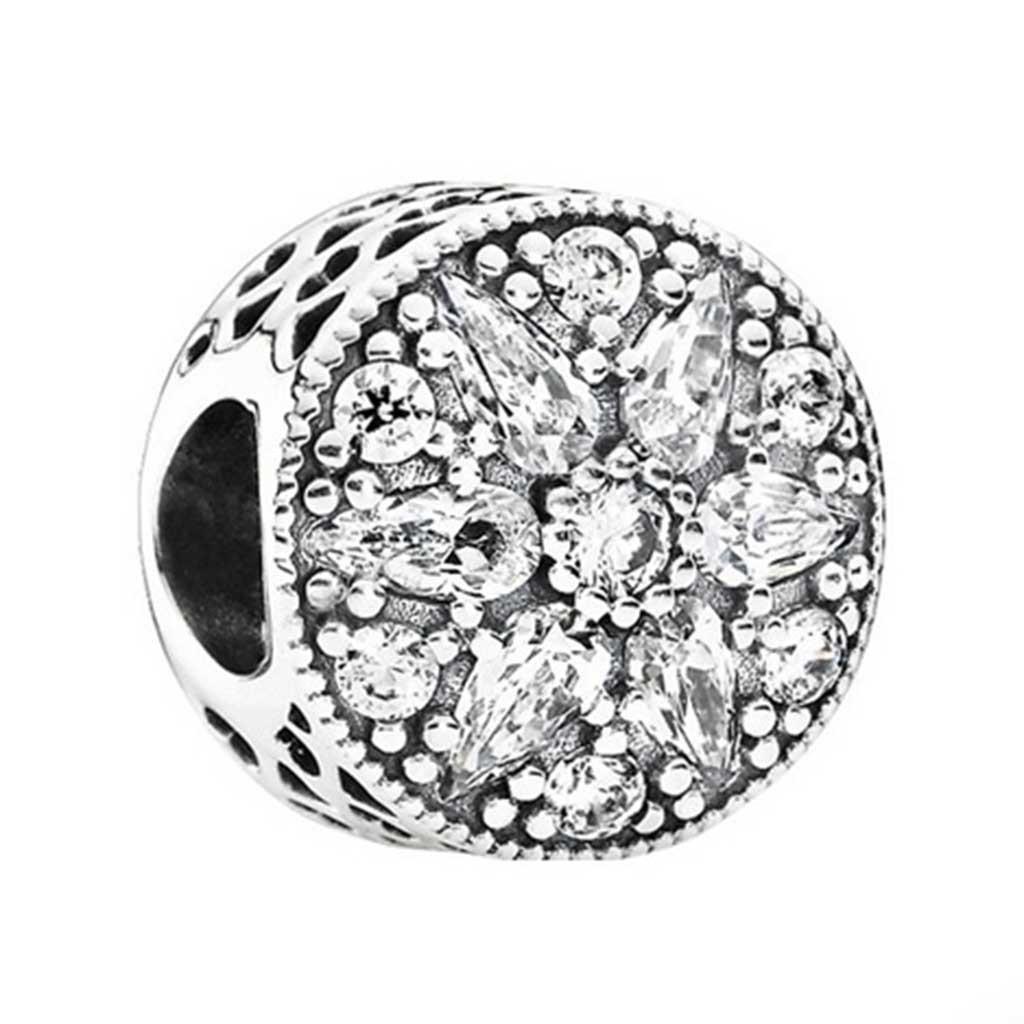 Conta de prata 925 compatível com pandora (flor radiante)